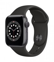 Apple Watch Series 6 GPS, 40 mm Aluminiumgehäuse Space Grau, Sportarmband Schwarz, Regular