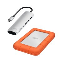 Aktionsbundle: Satechi USB-C Slim Multi-Port Hub, Silber + LaCie Rugged, externe Festplatte
