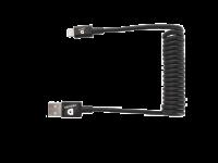 DEQSTER Ladekabel Lightning/ USB-A Spiralkabel, Apple MFi Zertifiziert, 0,38m - 1m, schwarz