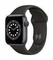 Apple Watch Series 6 Aluminium Space Grau, GPS + Cellular, Sportarmband Schwarz, Regular