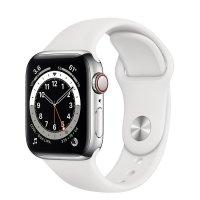 Apple Watch Series 6 GPS + Cellular, 44 mm Edelstahlgehäuse, Silber, Sportarmband Weiß, Regular