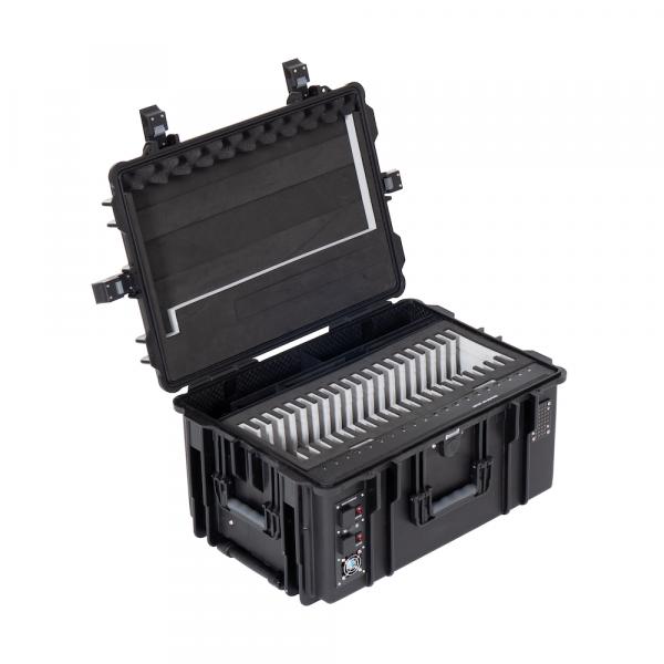 BOBO iPadkoffer, Transportkoffer mit Rollen für 20 iPads oder Galaxy Tabs, mit Ladefunktion