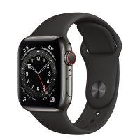Apple Watch Series 6 Edelstahl Graphit, GPS + Cellular, 44 mm, Sporarmband Schwarz, Regular