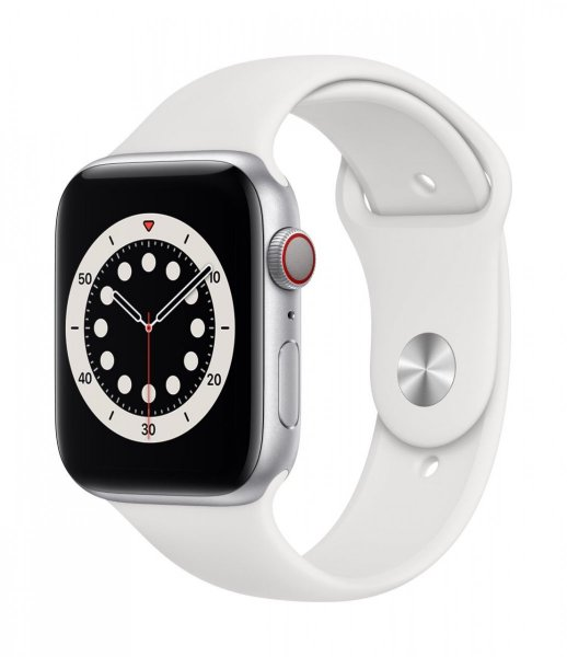 Apple Watch Series 6 Aluminium Silber, 44 mm, GPS, Sportarmband Weiß, Regular
