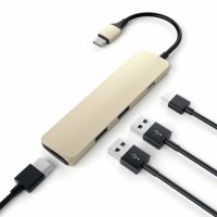 Satechi USB-C Passthrough Hub (4 in 1 Adapter) Gold