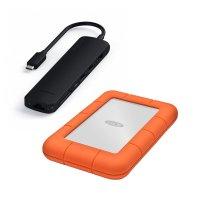 Aktionsbundle: Satechi USB-C Slim Multi-Port Hub, Schwarz + LaCie Rugged, externe Festplatte