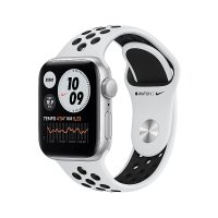 Apple Watch Nike Series 6 Aluminium Silber, GPS, 40 mm, Nike Sportarmband Pure Platinum/Schwarz