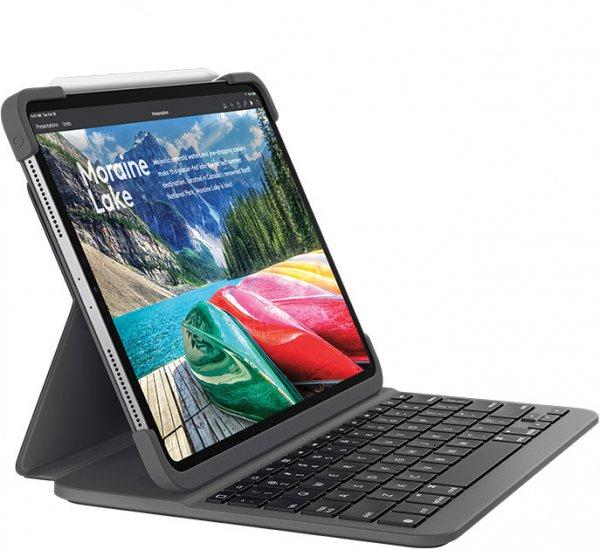 Logitech Slim Folio Pro, mit Tastatur, für Apple iPad Pro 12.9 (3./4. Gen), Graphit