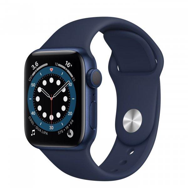 Apple Watch Series 6 Aluminiumgehäuse Blau, GPS, Sportarmband Dunkelmarine, Regular