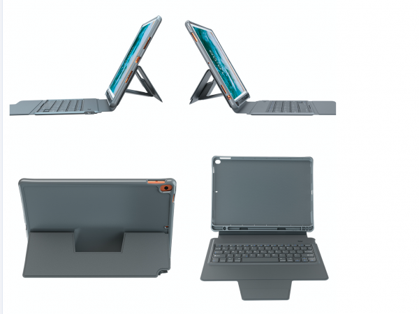 "DEQSTER Keyboard Folio Case für Apple iPad 10,2"" (7./8. Generation) mit Stifthalterung, Bluetooth 5."