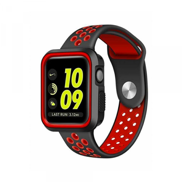 Devia Silikon Armband für Apple Watch mit 42/44 mm Gehäuse, Rot/Schwarz