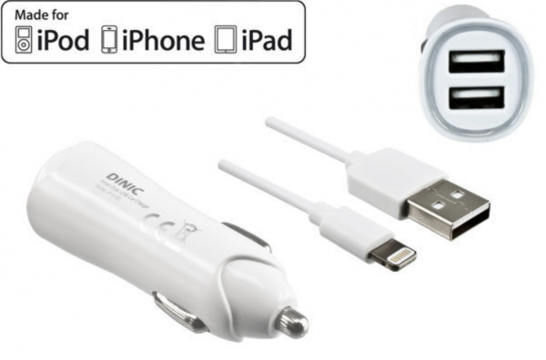 Dinic Car Kit USB Kabel auf Lightning + KFZ-Ladeadapter