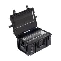 BOBO iPadkoffer, Transportkoffer mit Rollen für 20 iPads, Tablets oder Surfaces, mit Ladefunktion