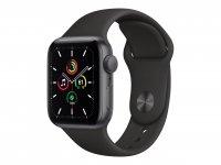 Apple Watch SE, GPS, 40 mm Aluminiumgehäuse Space Grau, Sportarmband Schwarz, Regular