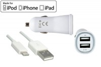 Dinic Car Kit für iPhone 5/6 / iPad - USB Kabel auf Lightning + KFZ-Ladeadapter