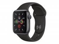 Apple Watch Series 5, GPS + Cellular, 40mm Aluminiumgehäuse, Space Grau, mit Sportarmband, Schwarz