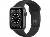Apple Watch Series 6, GPS, 44 mm Aluminiumgehäuse Space Grau, Sportarmband Schwarz, Regular