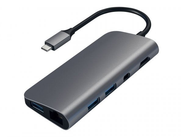 Satechi USB-C Multimedia Adapter für Apple MacBook & Notebooks (9 in 1), Space Grau