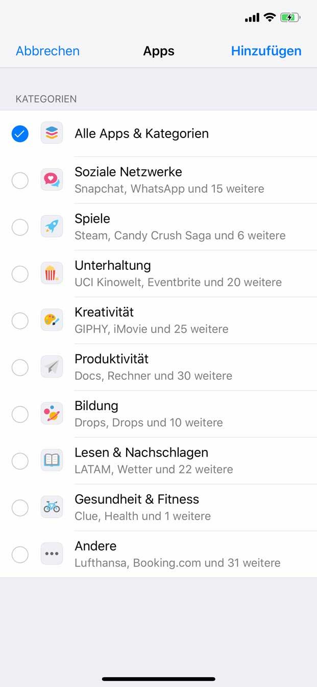 App-Limitierung