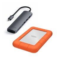Aktionsbundle: Satechi USB-C Slim Multi-Port Hub, Space Grau + LaCie Rugged, externe Festplatte