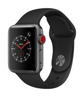 Apple Watch Series 3 GPS, 38mm Aluminiumgehäuse, Space Grau, mit Sportarmband, Schwarz