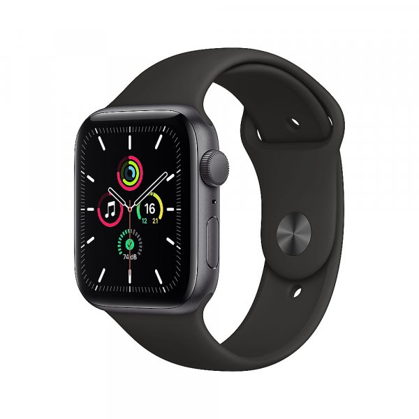 Apple Watch SE Aluminium Space Grau, 44 mm, GPS, Sportarmband Schwarz, Regular