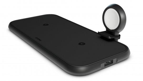 Zens Aluminium 4-in-1 Dual Wireless Qi Charger, mit Apple Watch Halterung, 45W, Schwarz