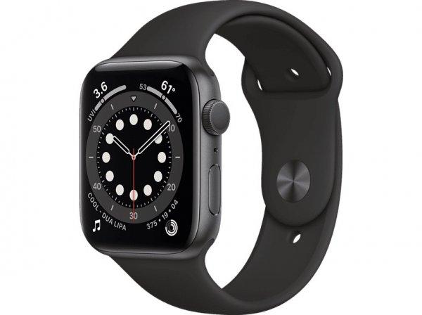 Apple Watch Series 6 Aluminium Space Grau, GPS, Sportarmband Schwarz, Regular