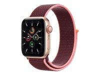 Apple Watch SE GPS + Cellular, 40mm Aluminiumgehäuse Gold, Sport Loop Pflaume